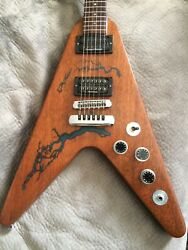 Gibson 1983 Flying -v Guitar / One Of A Kind Lightning Bolts Glow In Dark 24 Hrs