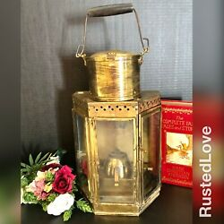 Large Solid Brass Lantern Oil Lamp Handled Heavy Vintage Nautical Wall Hanging