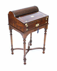 Antique Campaign Anglo- Indian Padouk Tambour Writing Slope Desk C.1840