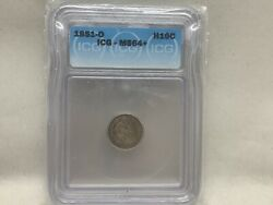 1851-o Seated Half Dime Tough New Orleans Date Pleasing Patina Icg Ms64+