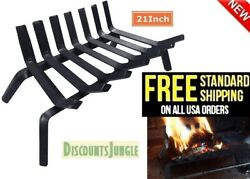 Amagabeli Black Wrought Iron Fireplace Log Grate 21#x27; inch Wide Heavy Duty BL0005