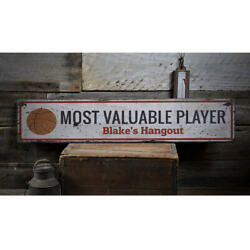 Mvp Basketball Vintage Distressed Sign Personalized Wood Sign