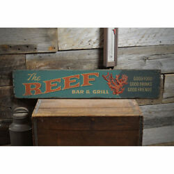 Reef Bar And Grill Vintage Distressed Sign, Personalized Wood Sign