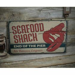Lobster Seafood Shack Vintage Distressed Sign Personalized Wood Sign