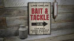 Bait And Tackle Mileage Rustic Distressed Sign Personalized Wood Sign