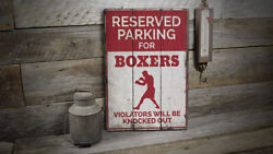 Boxer Parking Only Rustic Distressed Sign Personalized Wood Sign