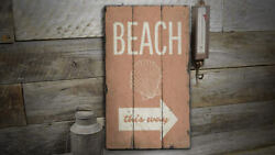 Beach Shell Vintage Distressed Sign, Personalized Wood Sign