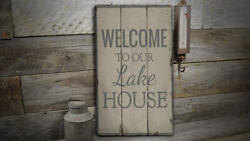 Lake House Anchor Rustic Distressed Sign, Personalized Wood Sign