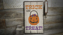 Halloween Candy Bowl Novelty Distressed Sign, Personalized Wood Sign