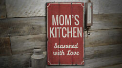 Moms Home Kitchen Vintage Distressed Sign, Personalized Wood Sign
