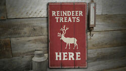 Reindeer Treats Vintage Distressed Sign, Personalized Wood Sign