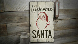 Welcome Santa Novelty Distressed Sign Personalized Wood Sign
