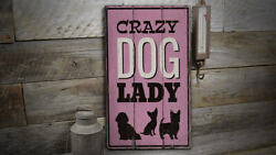 Crazy Dog Lady Novelty Distressed Sign, Personalized Wood Sign