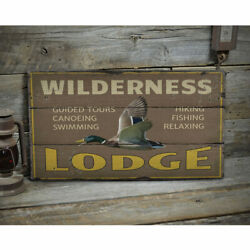 Wilderness Lodge Novelty Distressed Sign, Personalized Wood Sign