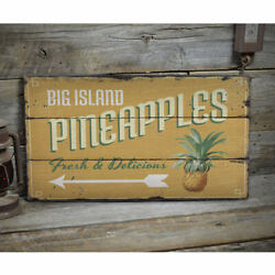 Big Island Pineapples Rustic Distressed Sign Personalized Wood Sign