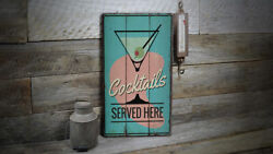 Cocktails Served Here Vintage Distressed Sign Personalized Wood Sign