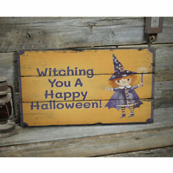 Witching You A Happy Halloween Rustic Distressed Sign, Personalized Wood Sign