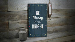 Be Merry And Bright Vintage Distressed Sign Personalized Wood Sign