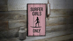 Surfer Girl Power Rustic Distressed Sign Personalized Wood Sign