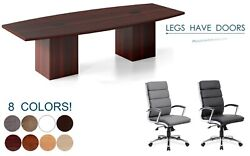 10 Ft Foot Conference Table Legs Have Doors Grommets And 8 Chairs Set 8 Colors