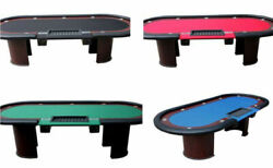 96 Dealer Poker Table U Shaped Legs 2 Drop Boxes Choice Speed Cloth Color