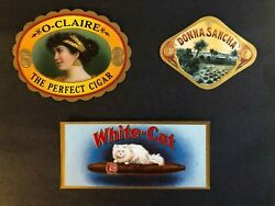 Group Of 7 Vintage Cigar Box Labels - All Feat. Gold Over Reverse Embossing -vgc