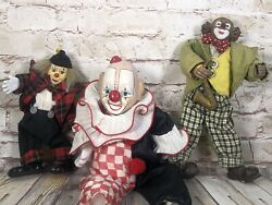 3 Vintage Porcelain Clown Dolls One Victoria Impex Wind Up Musical Animated