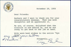 George H.w. Bush - Typed Letter Signed 11/28/1984