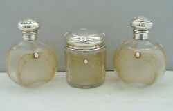 Rare Art Nouveau Silver Glass And Opal Set Scent Bottles And Vanity Jar Birm. 1903