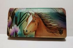 ANUSCHKA Tri fold FREE SPIRIT Horse Hand Painted Leather Clutch Wallet $76.00