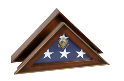 Five Star General Memorial Flag Display Case Shadow Box With Cherry Finish