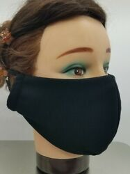 Fabric Face Mask X Large For Bearded Men 2 Layer Washable Reusable Black US Made $8.00