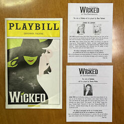 Wicked Sep 2012 Broadway Playbill And Understudy Slips Donna Vivino Kate Fahrner