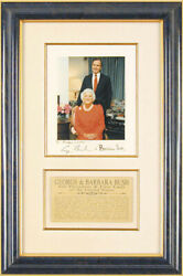 George H.w. Bush - Inscribed Photograph Signed Co-signed By Barbara Bush