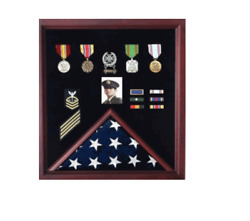 Us American Flag And Medal Memorial Burial Display Case Shadow Box