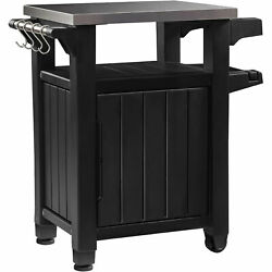 Keter Unity Portable Outdoor Table And Storage Cabinet With Hooks For Parts
