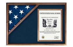 Military Insignia And American Flag Certificate Display Case Shadow Box