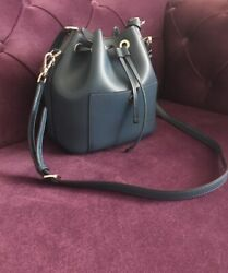MICHAEL KORS GREENWICH DEEP TEAL MEDIUM BUCKET LEATHER SHOULDER HANDBAG $99.99