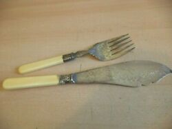 Ejf Ornate Old Antique Set Stag Fish Server Fork Knife Silver Plate Pair Cutlery
