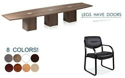 14 Ft Foot Conference Table And 12 Chairs Set Legs With Doors Grommets 8 Colors