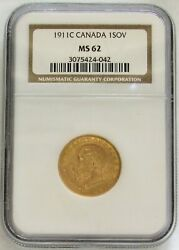 1911 C Gold Canada Sovereign King George V Coin Ngc Mint State 62