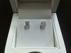 Diamond Earrings Round 1.40 Ct G Si1 14k White Gold Christmas Gift Wedding Girl