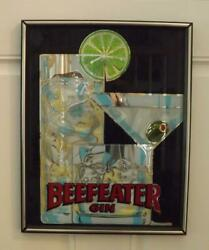 Beefeater Gin Mirror Bar Sign Martini Olive Lime Mid Century Modern 15x19 Exc
