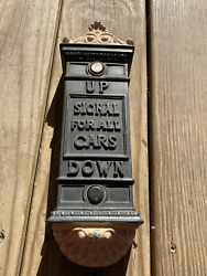 Vtg Antique Cast Iron Extremely Rare Signal Up And Down For Elevator Cars