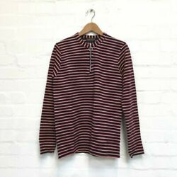 Navy Striped Zip Neck Jumper By Run And Fly Unisex S M L Xl 3/4 Zip