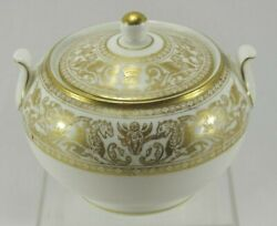 Wedgewood Gold Florentine Gold Dragons W4219 Covered Sugar Bowl Antique