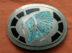 Vintage Unique Hand Made Turquoise Onyx Inlay Indian Chief Western Belt Buckle