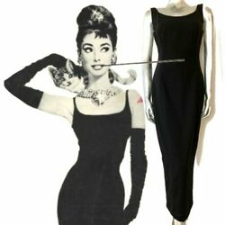 Classic Vintage Black Maxi Droopy And Browns Angela Holmes Pencil Wiggle Dress 8