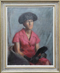 Alys Woodman British 20and039s Art Female Portrait Oil Painting Lady With Black Fan