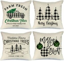 AENEY Farmhouse Christmas Pillow Covers 18x18 inch Set of 4 for Home Decor...